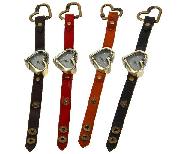 Quartz Watch with Numbers Indicate Dial Leather Watch Band for Women