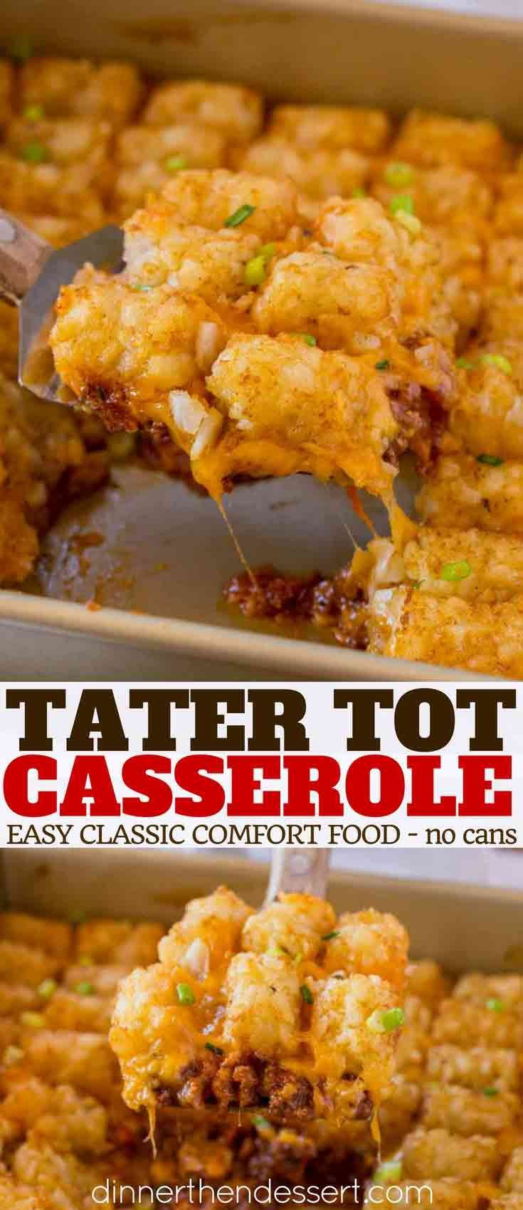 Tater Tot Casserole Made With Ground Beef Tater Tots Cheesy And A Creamy Beef Sauce Topped Beef Recipes Easy Ground Beef Recipes Easy Beef Recipes For Dinner