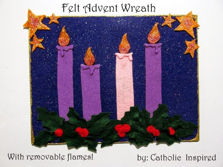 "I made a flat Advent ""wreath"" for my kids. The first one I made was created with felt material. I added magnets to the back so it could be..."