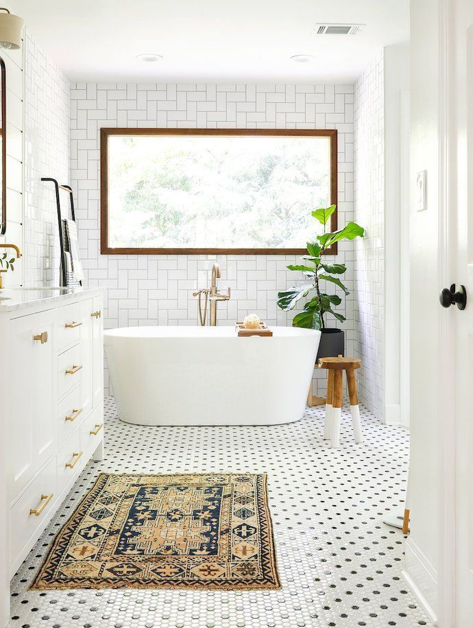Scandinavian Bathroom Patterned Floor Tiles White Washstand With Brass Handles White Bath Tub Bathroom Tile Designs Small Bathroom Tiles Wood Window Trim