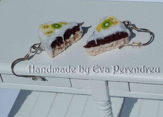 Earrings miniature cake slice silver by Evamini on Etsy, $15.50