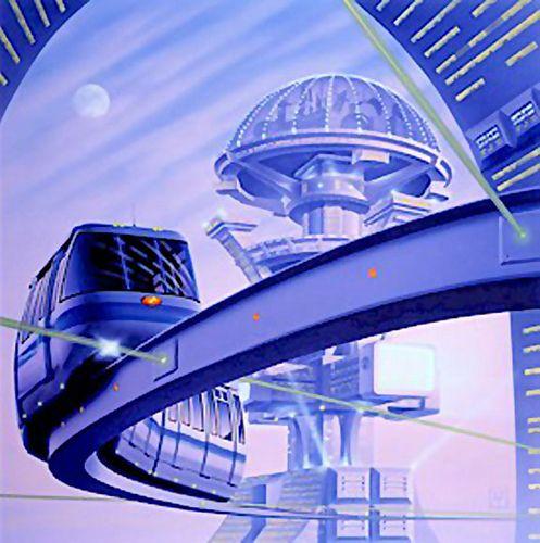 future city, retro-futuristic, monorail, futuristic vehicle, train, sci-fi