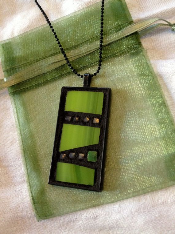 Mosaic Pendant Necklace with Green Glass and Tiles by MojoMosaics, $28.00