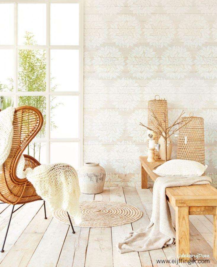 Wzór desek z motywami białych liści - pasuje do wnętrz w stylu eko, ale przede wszystkim do stylu skandynawskiego