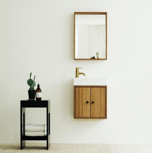 New bathroom module and mirror from SkabRum!! If space is limited - this is a great solution!! Bathroom, mirror, bamboo, handmade
