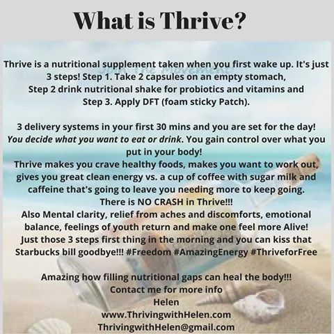 My definition of Thrive. Get the facts :-)  www.Thrivingwithhelen.com