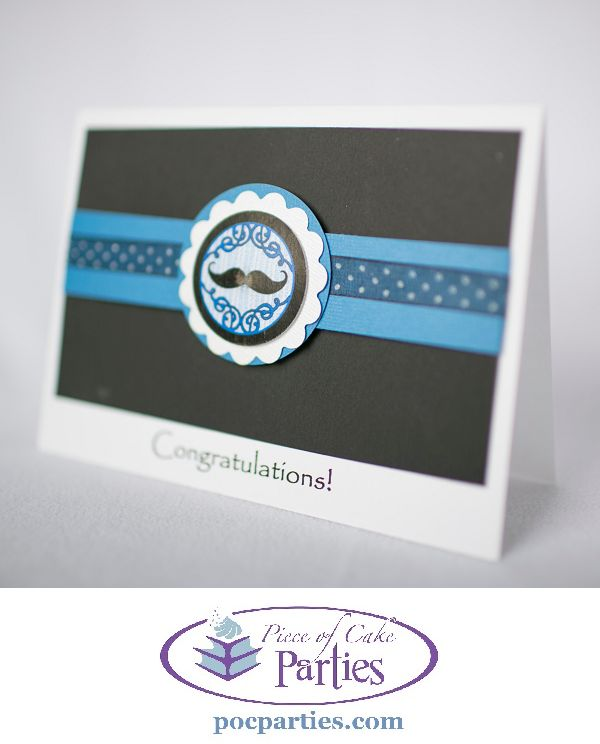 Handmade mustache card for bridal or baby shower