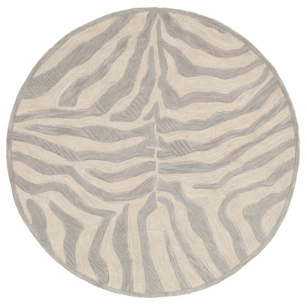 LNR Home Fashion Taupe/ Silver Geometric Animal-print Rug (5' Round) - Overstock™ Shopping - Great Deals on Round/Oval/Square