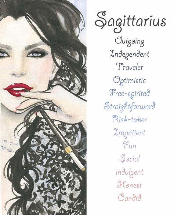 Sagittarius, Zodiac Sign, Print, Watercolor, Illustration, Girl