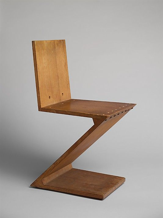 Zig Zag Stoel  Gerrit Rietveld  (Dutch, 1888–1964)  ca. 1937-40.  The Zig Zag chair is the epitome of the de Stijl ideals synthesizing form, function, and construction.
