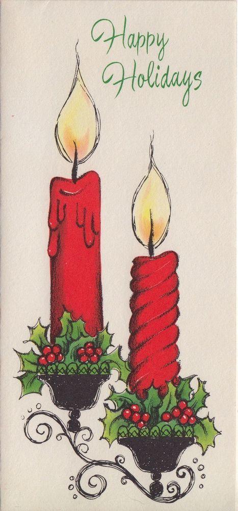 Vintage Christmas Card - my Mom & Gramma had those spiral, twisty candles.  Wish I still had them.