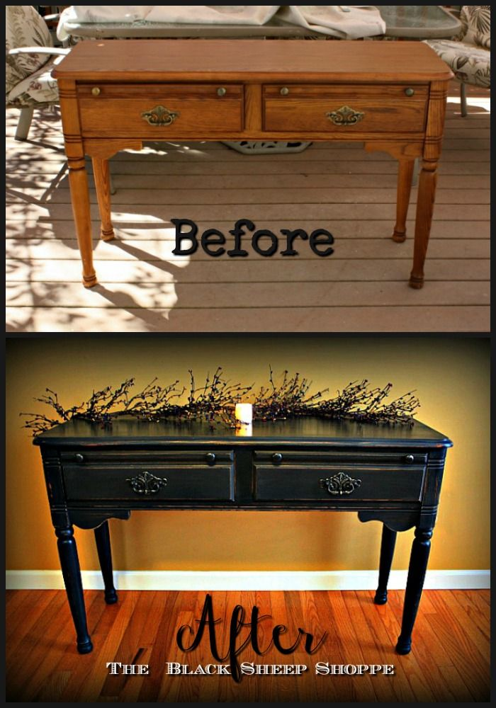 Before and After photos of an oak table finished in Graphite; Annie Sloan Chalk Paint