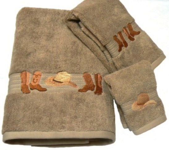 Cowboy Boots and Hat Embroidered Linen Bath Towel 3 Pc Set western bath