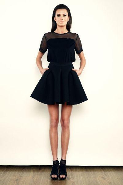 T-shirt - czarny z siatką - model 04