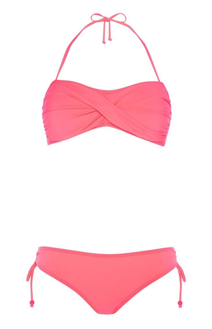 Primark - Hot Pink Twisted Bandeau Bikini