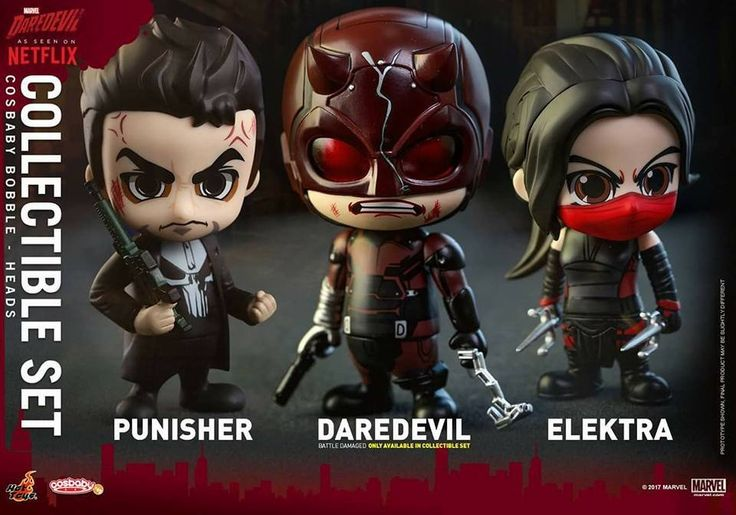 Hot Toys - COSB351 - Marvel's Daredevil - Daredevil, Punisher, and Elektra Cosbaby Bobble-Head (Collectible Set of 3)
