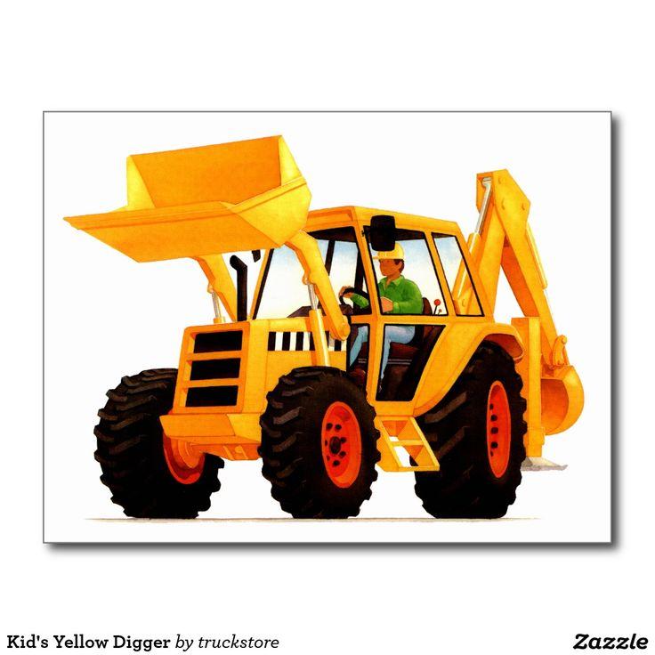 Kid's Yellow Digger Postcard