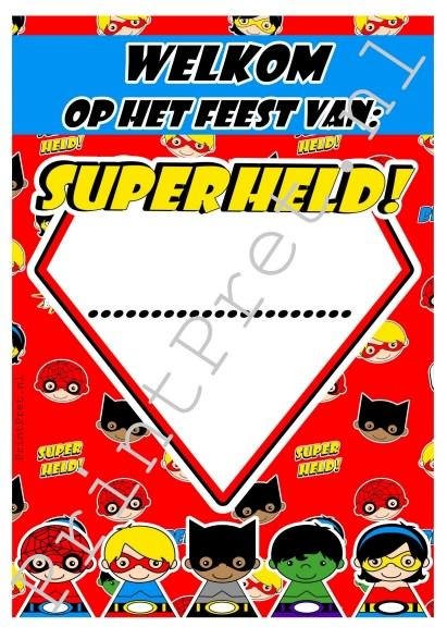 Superheld welkoms poster A4. http://printpret.nl/Superheld%20feestpakket