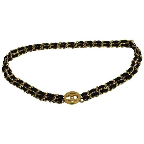 Preowned Vintage Chanel Golden Metal And Black Leather Chain Belt ($850) ❤ liked on Polyvore featuring accessories, belts, black, chanel belt, golden belt, metal belts and chanel
