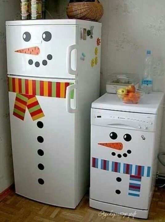 Snowman refrigerator! guess whose fridge is turning into a snowman!!