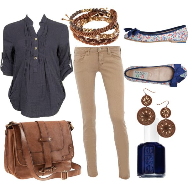 Perfect outfit. Can't go wrong with khaki and navy