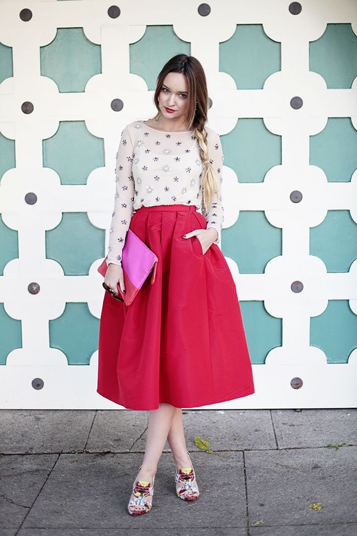 15 best images about midi skirt on Pinterest | Pink skirts, Full ...