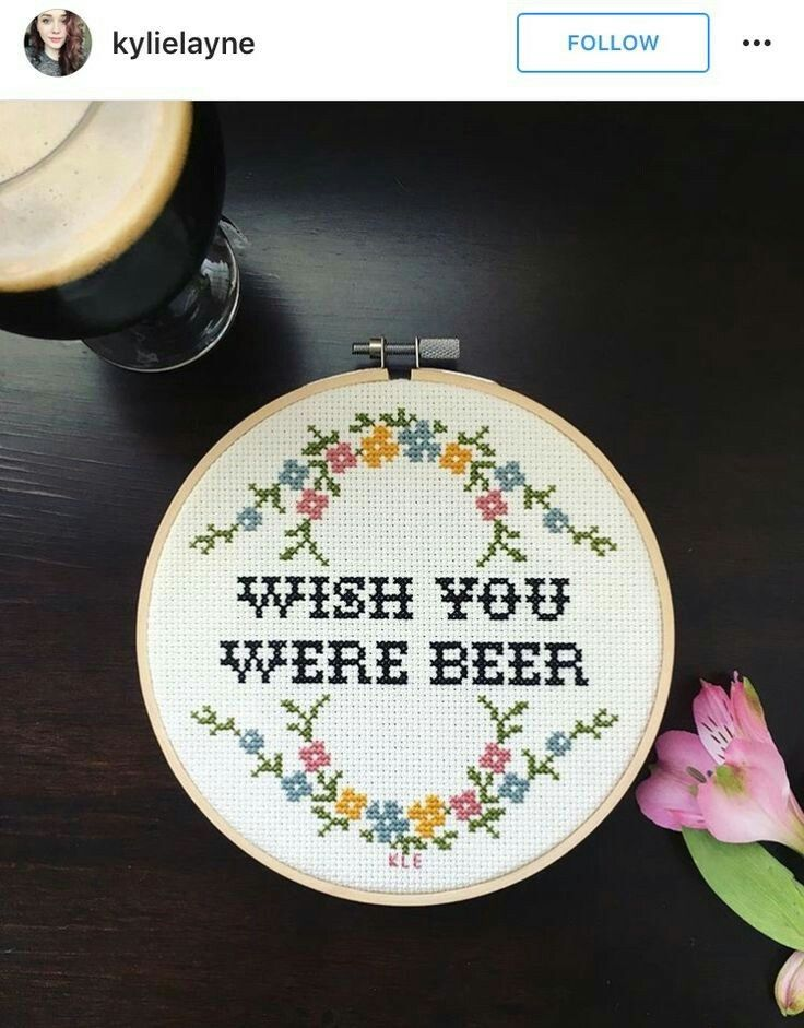 Wish You Were Beer Embroidery