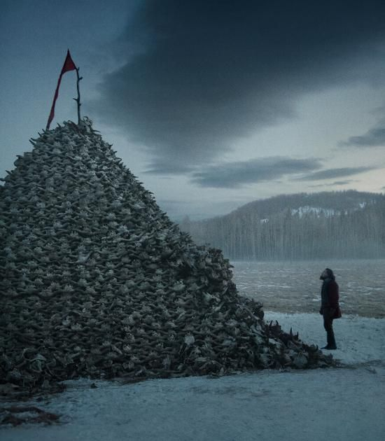 A dream sequence from 'The Revenant' features a pile of roughly 10,000 buffalo skulls (and a bewildered Hugh Glass aka Leonardo DiCaprio).