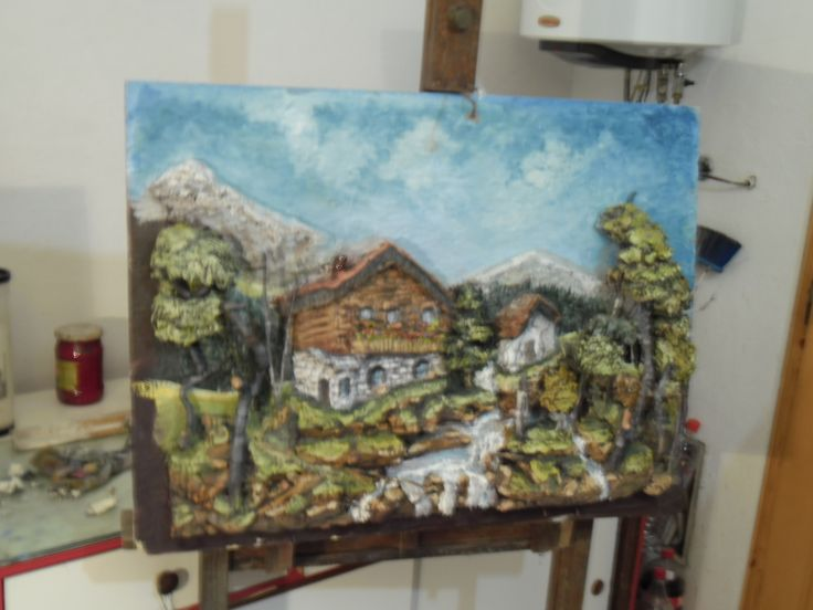 The rustic cabin in hte mountain, unframed version.