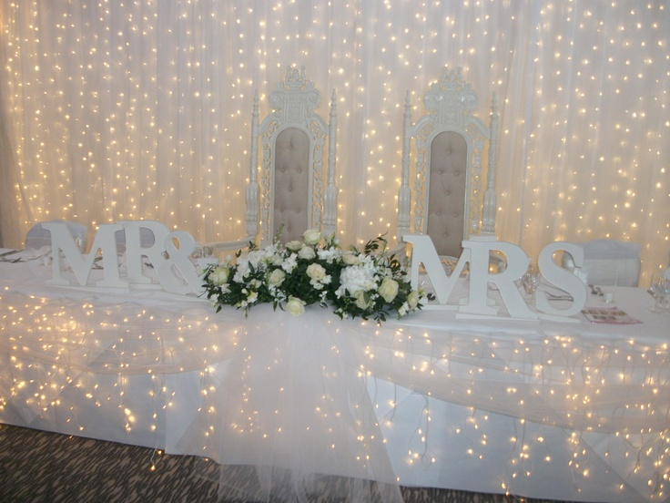 Mr Mrs Letters For Your Top Table   Stunning Fairylight Backdrop By  Fairytales Grimsby.