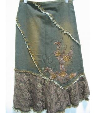 frayed lace denim skirt