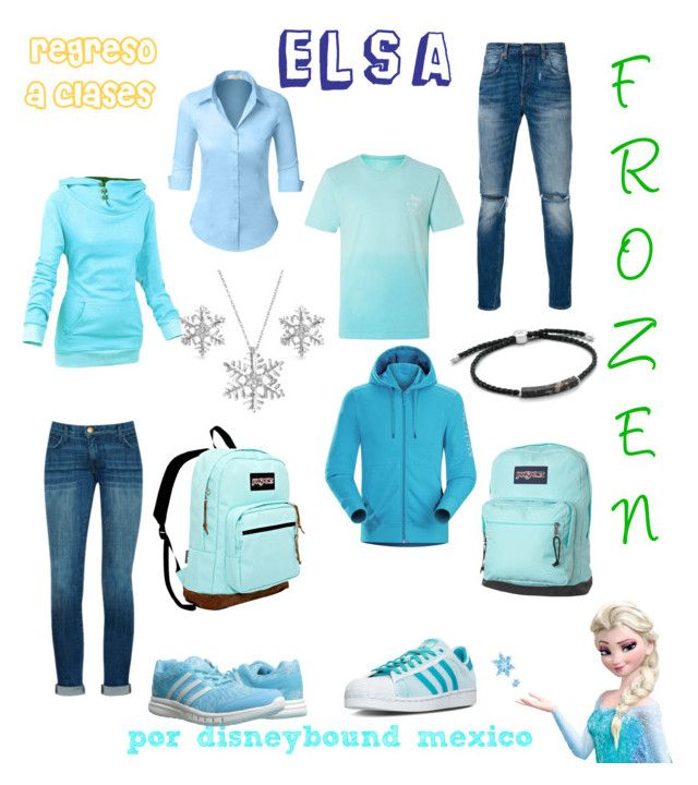 """""""Elsa"""" by disneybound-mexico on Polyvore featuring LE3NO, adidas, Bling Jewelry, JanSport, Levi's, Topman, Arc'teryx and Monica Vinader"""