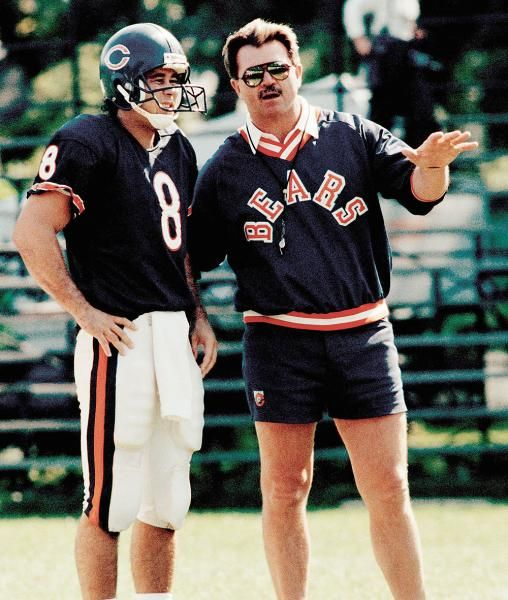 Chicago Bears' coach Mike Ditka talks with quarterback  Mike Hohensee