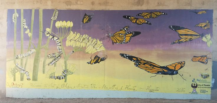 Love the monarch butterflies at this Rio Salado underpass painting