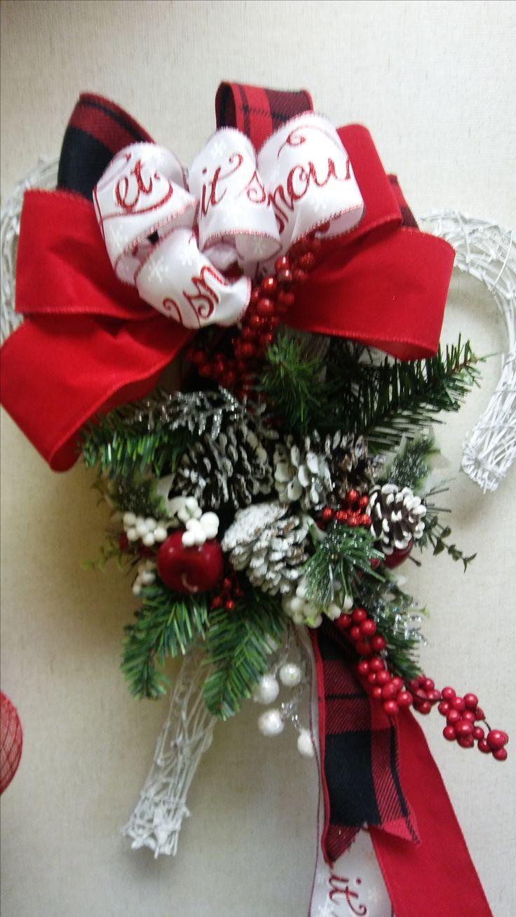 White Candy Cane Wicker Wreath