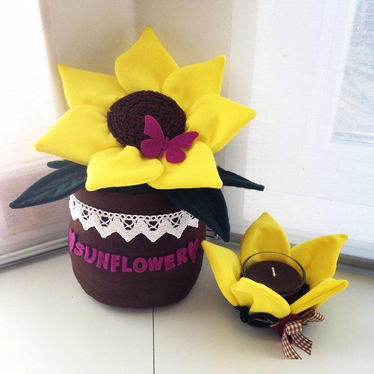 Ferma porta con portacandela coordinato sunflower, by Briciole, 50,00 € su misshobby.com