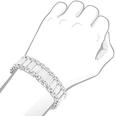 This Mens Diamond Bracelet in Sterling Silver weighs approximately 43 grams and showcases 5 carats of genuine diamonds. Featuring a flexible link design and a luxurious rhodium plating for extra shine, this mens diamond bracelet is an affordable alternative to gold jewelry.