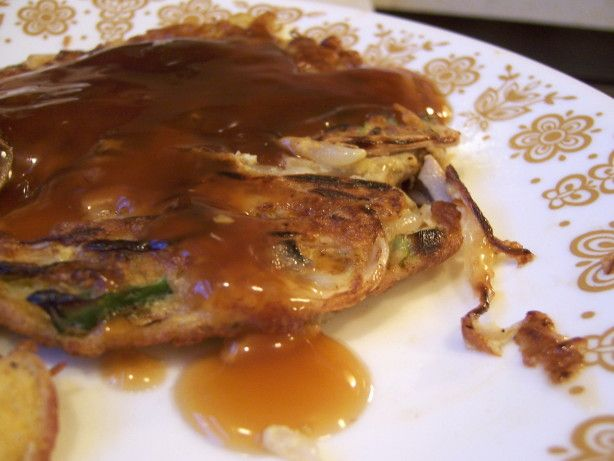 From Alberta Egg Producers website. This tastes a lot like our favorite Chinese restaurants Egg Foo Yung, so I was thrilled to find out how easy it is to make at home! I usually double the amount of sauce, and I like to add a touch of oyster sauce to the sauce sometimes, too. For a complete Chinese experience, we usually eat this with Recipe #228704.