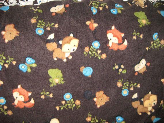 Cute design! Handmade children or baby blanket at https://www.etsy.com/listing/186724842/no-sew-woodland-animals-polar-fleece