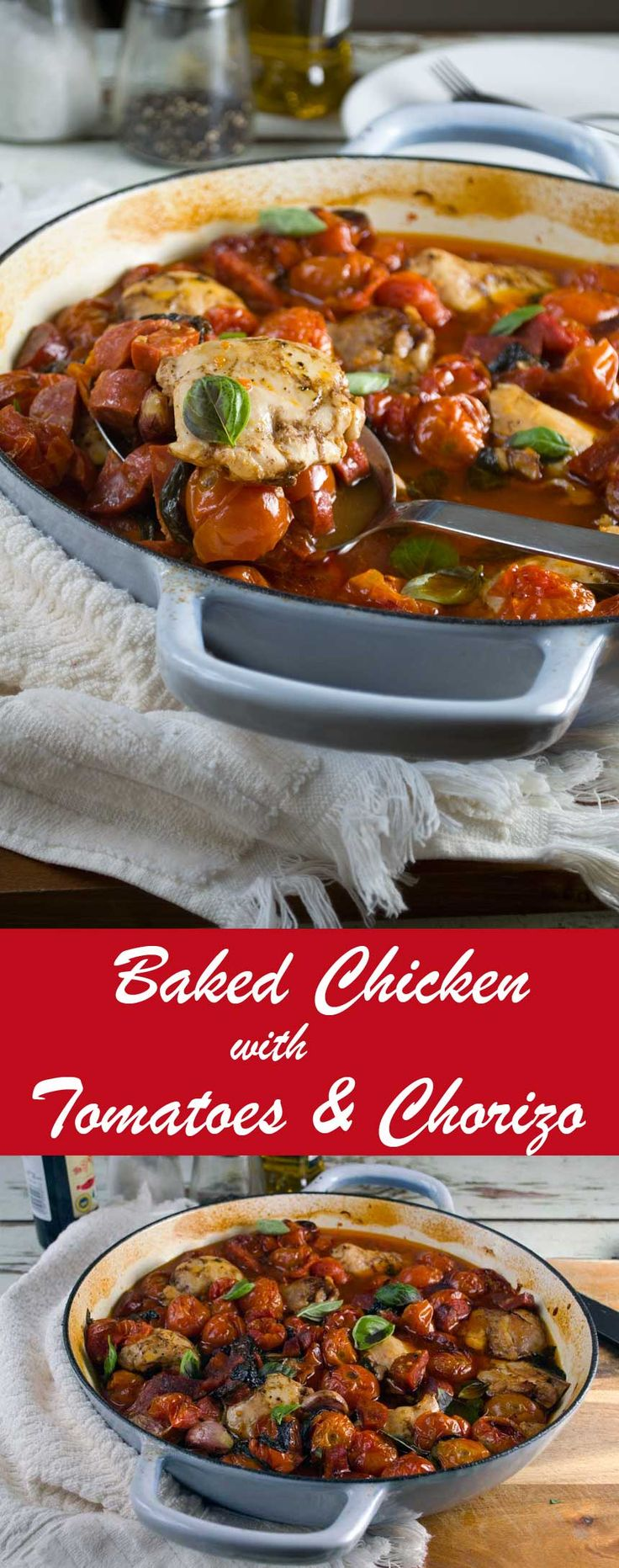 Baked chicken with cherry tomatoes and chorizo - one-pan, and only 5 main ingredients!