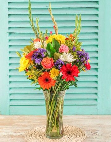 Bright Flowers in a Glass Vase