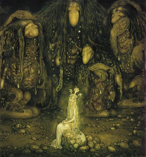"""Swedish artist John Bauer (1882--1918). He made pictures of creatures in the Swedish folk belief, inspired by the deep dark forests. Here is princess """"Tuvstarr"""" surrounded by trolls."""