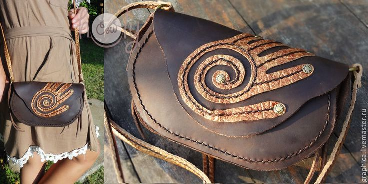 """Купить Кожаная сумочка """"Spirit Hand"""" - коричневый, орнамент, сумка женская, Кожаная сумка"""