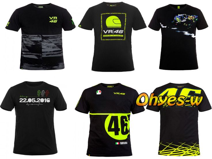 2016 Valentino Rossi VR46 Mens 'T-Shirt Doktor MotoGP 46 Motor Sporları M1 Yarış Tişört