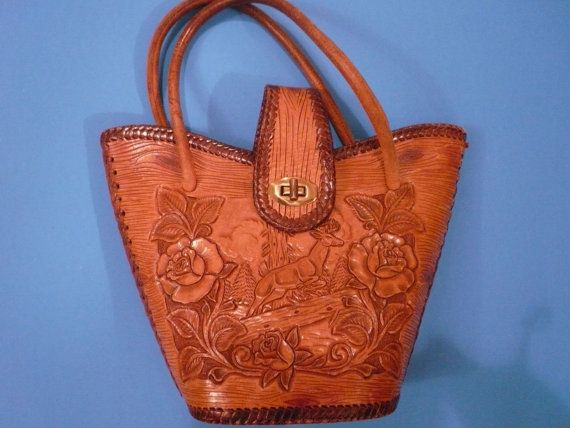 Mexican Tooled Leather Purse with Deer and Roses by Tasteliberty, $78.00