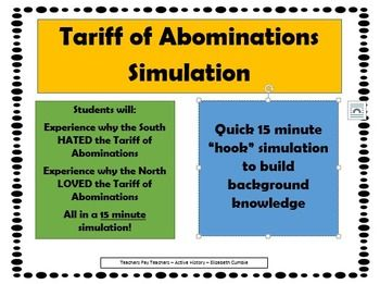 "Tariff of Abominations ""Simulation"" - Hook Activity"