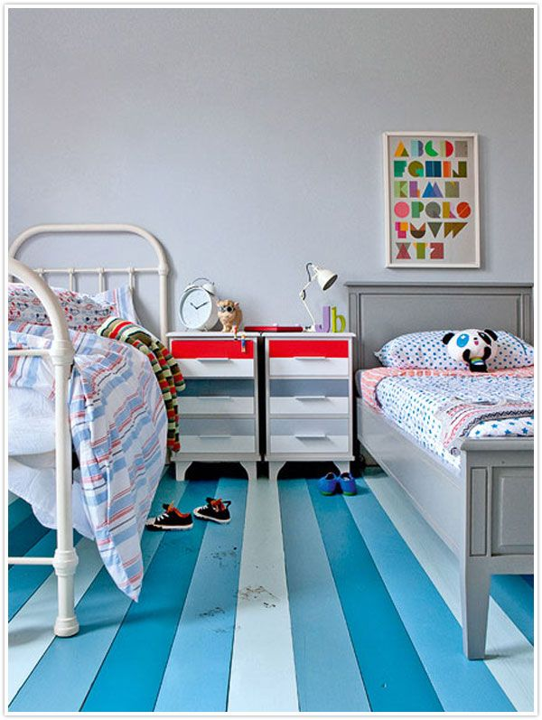 striped wooden floors! painted blue - Via Camille Styles