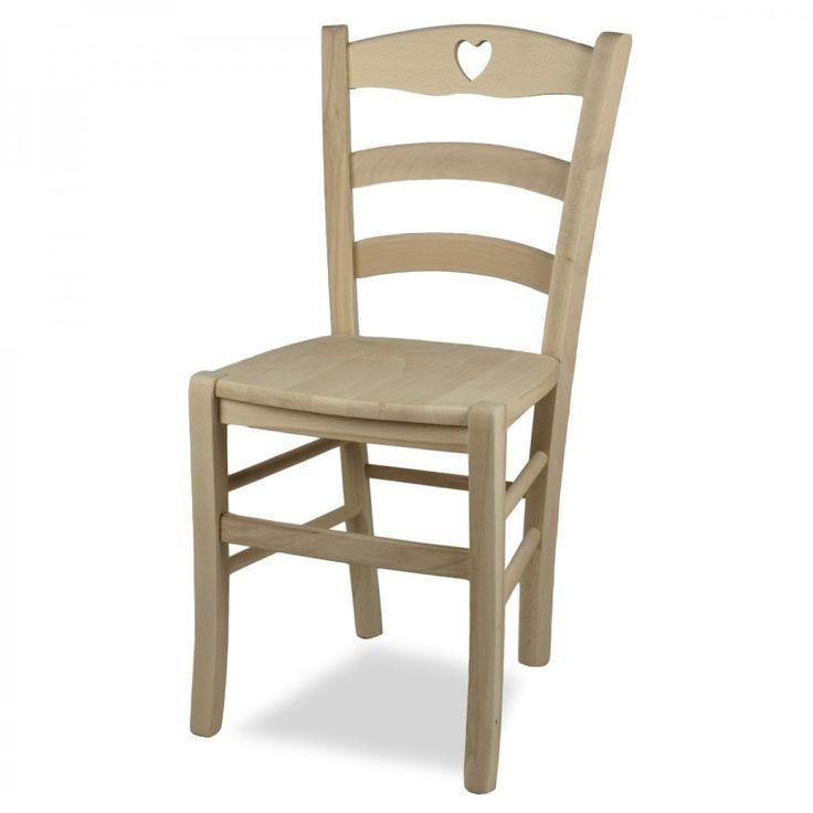 SHABBY CUORE LEGNO GREZZO. Shabby Cuore è una sedia in legno di faggio classica che si ispira alla sedia Venezia ma presenta un cuore nella parte alta dello schienale che la rende una sedia unica e moderna. La seduta è molto comoda e confortevole grazie anche allo schienale curvo e avvolgente.