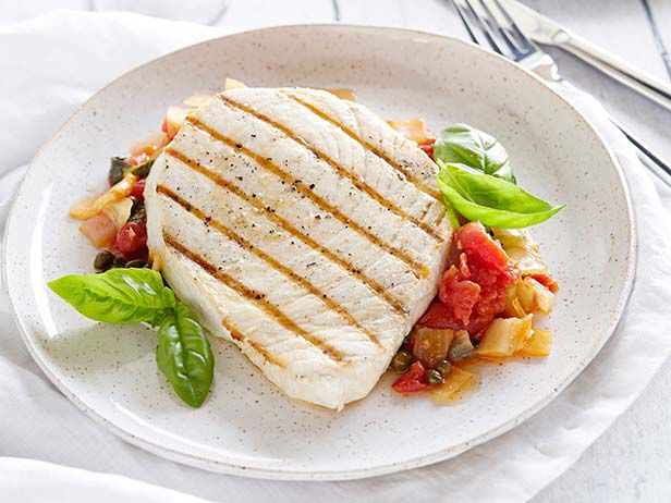 Barefoot Contessa's Swordfish with Tomatoes and Capers #Seafood #Veggies #InSeason #MyPlate: Food Network, Green Tomatoes, Foodnetwork Com, Seafood Dishes, Grilled Swordfish, Barefoot Contessa, Ina Garten, Caper Recipes, Seafood Fish
