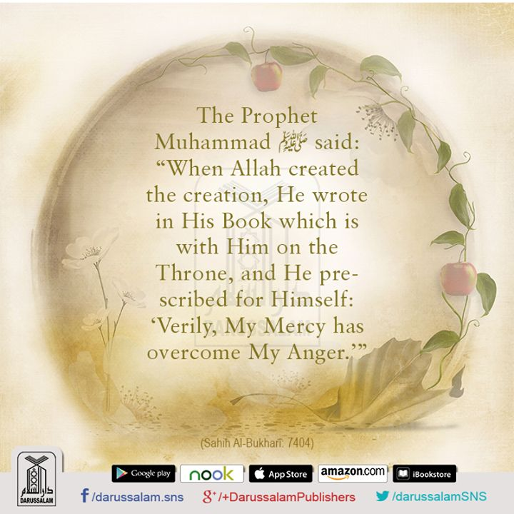 "Hadith-e-Qudsi – Mercy of Allah It was narrated from Abu Hurairah (may Allah be pleased with him) that the Prophet (peace be upon him) said: Allah, Glorified and Exalted is He, said: ""My mercy precedes My wrath."" [Sahih Muslim, the Book of Repentance, Hadith: 6970]"